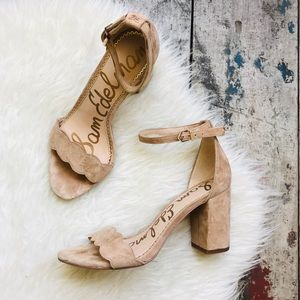 Sam Edelman tan suede block heels Sz 7